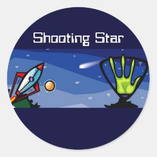 Alien Spaceship Classic Round Sticker