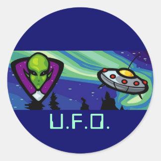 Alien Spaceship Round Stickers