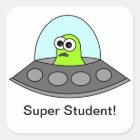 Alien Spaceship Super Student Square Square Sticker