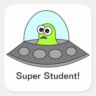 Alien Spaceship Super Student Square Stickers
