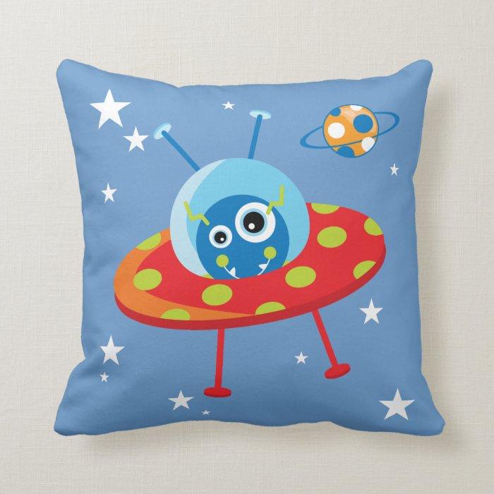 Alien Spaceship Throw Pillow