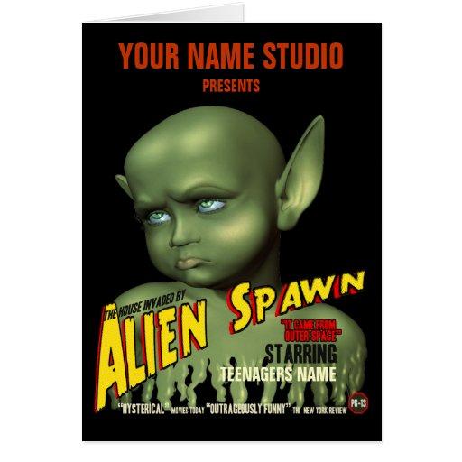 Alien Spawn B-Movie Poster Birthday Card