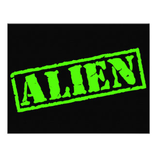 Alien Stamp Personalized Invites