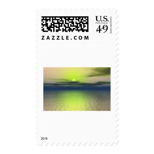 Alien sunset postage