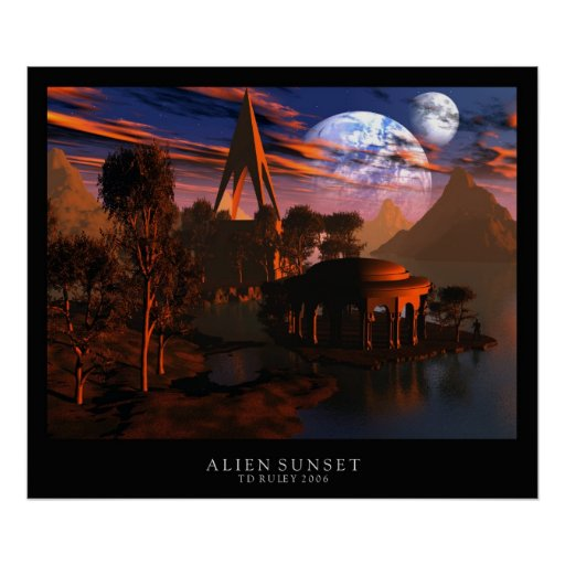 Alien Sunset Posters