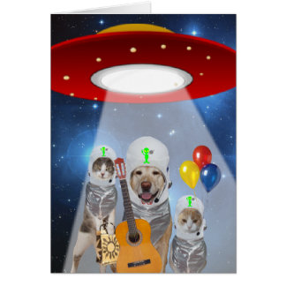 Alien Theme Funny Pet Birthday Greeting Cards