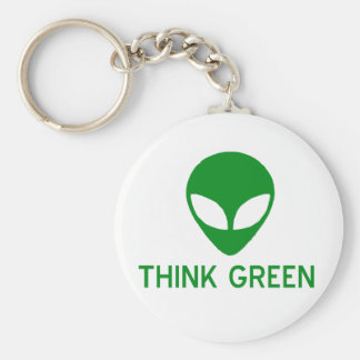 Alien Think Green Keychain