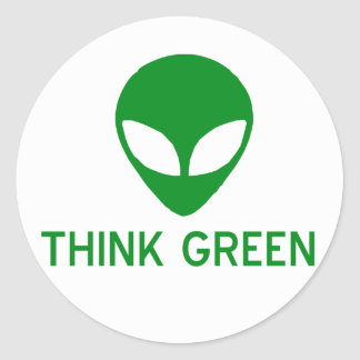 Alien Think Green Stickers
