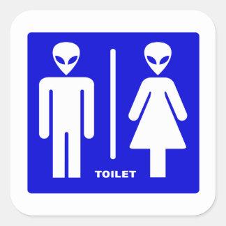 Alien Toilet Square Sticker