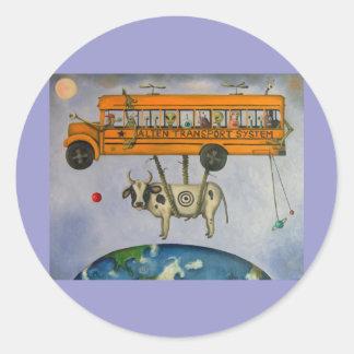Alien Transport System Round Stickers