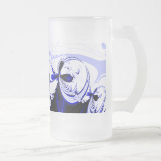 Alien Tropics - Fractal Art Design. Blue and White Frosted Glass Beer Mug