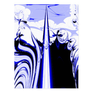 Alien Tropics - Fractal Art Design. Blue and White Postcard