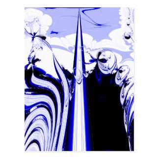 Alien Tropics - Fractal Art Design. Blue and White Postcard