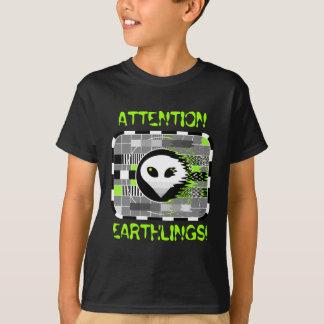 Alien TV 'ATTENTION EARTHLINGS!' kid's basic grey T-Shirt