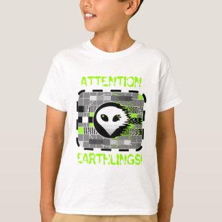 Alien TV 'ATTENTION EARTHLINGS!' kid's basic white T-Shirt