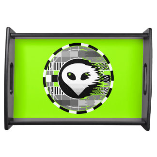 Alien TV Round tray green Serving Tray