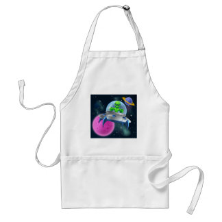 Alien UFO Flying Saucer in Space Adult Apron
