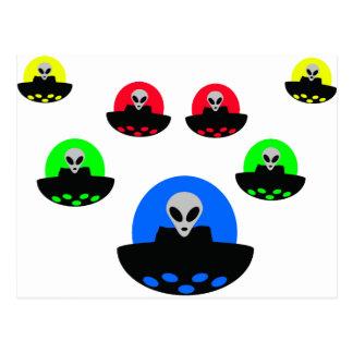 alien ufo invasion postcard