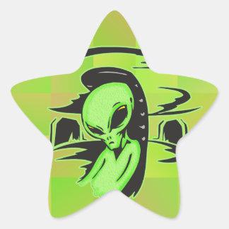 Alien UFO Pilot Star Sticker