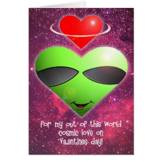 Alien Valentines Day Greeting Card