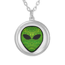 Alien Verde Silver Plated Necklace