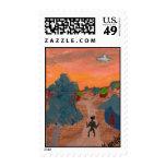 Alien Village Postage Stamp