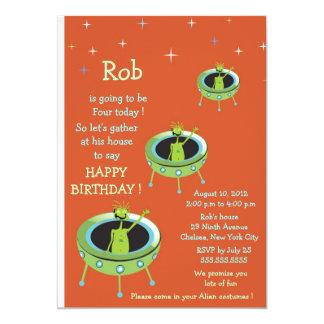 Alien Visitors - kids birthday invitation-2 Card