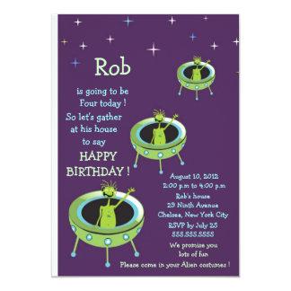 Alien Visitors - kids birthday invitation-3 Card