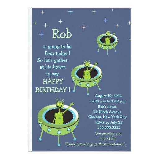 "Alien Visitors - kids birthday invitation-4 5"" X 7"" Invitation Card"