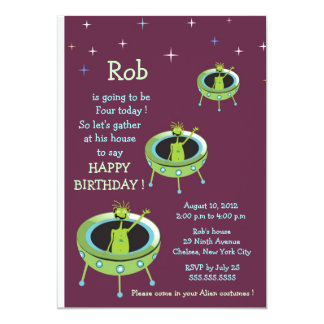 Alien Visitors - kids birthday invitation-5 Card