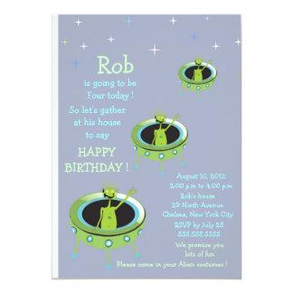 Alien Visitors - kids birthday invitation-6 Card