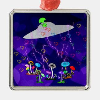 Alien Visitors Metal Ornament