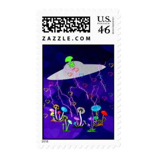 Alien Visitors Postage Stamps