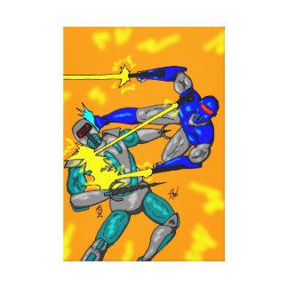 Alien vs Robot canvas Stretched Canvas Prints