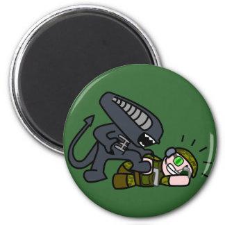 Alien vs Soldier 2 2 Inch Round Magnet