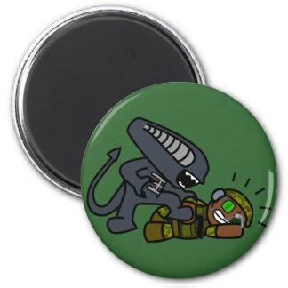 Alien vs Soldier 3 2 Inch Round Magnet