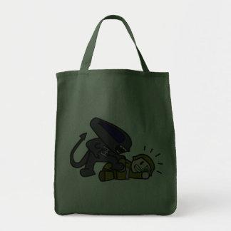 Alien vs Soldier Grocery Tote Bag