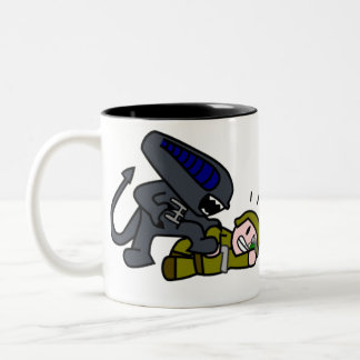Alien vs Soldier Two-Tone Coffee Mug
