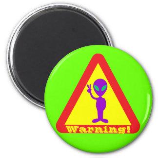 Alien Warning 2 Inch Round Magnet