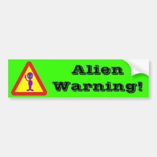 Alien Warning Bumper Sticker