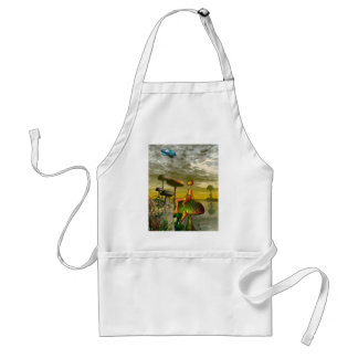 Alien watching an aircar in the sky adult apron
