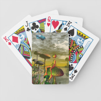 Alien watching an aircar in the sky bicycle playing cards
