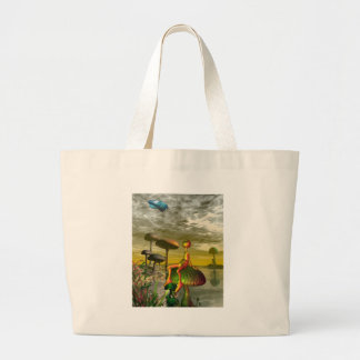 Alien watching an aircar in the sky canvas bags