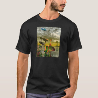 Alien watching an aircar in the sky T-Shirt