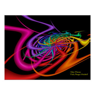 Alien Waves Modern Colorful Abstract Art Poster