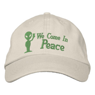 Alien We Come In Peace Embroidered Baseball Cap