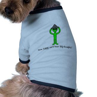 Alien wearing a tin foil hat dog t-shirt
