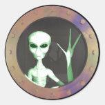 Alien window round stickers