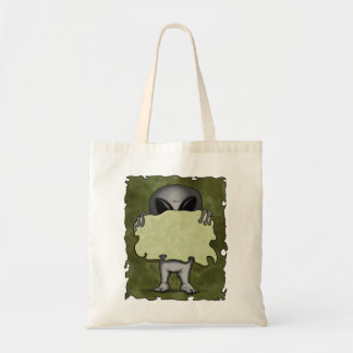 Alien With Blank Sign Bag