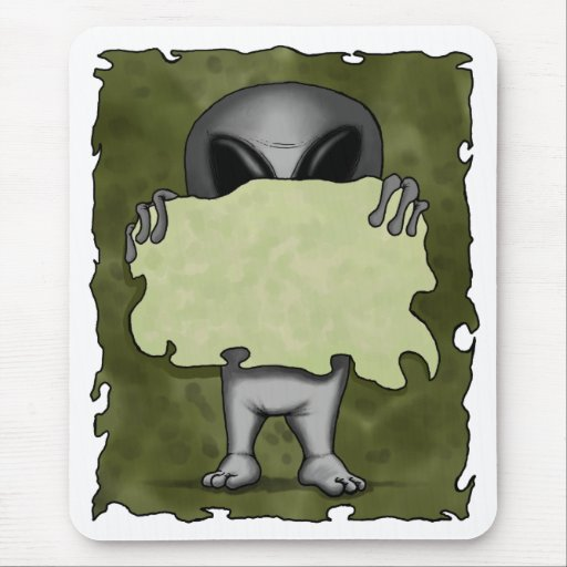 Alien With Blank Sign Mousepad